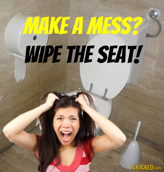 MAKE A MESS? WIPE THE SEAT! CRACKED COM