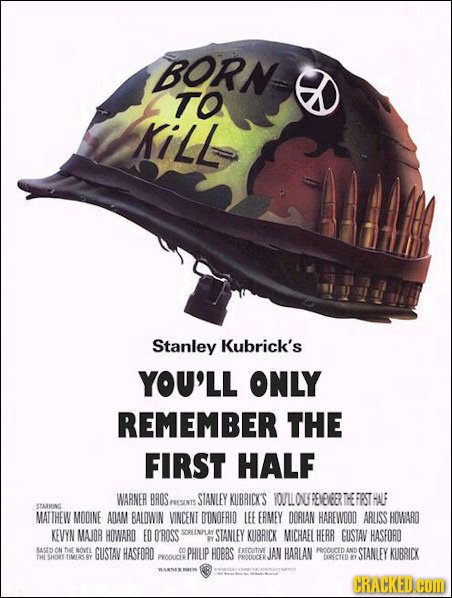 BORN TO KiLL Stanley Kubrick's YOU'LL ONLY REMEMBER THE FIRST HALF WARNER BROS STANLEY KIBRICK'S TOULLOUREVELEER THE FESTHALF PESENTS STARRING MATTHEW