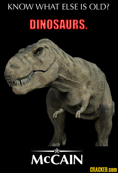 KNOW WHAT ELSE IS OLD? DINOSAURS. MCCAIN CRACKED.cOM