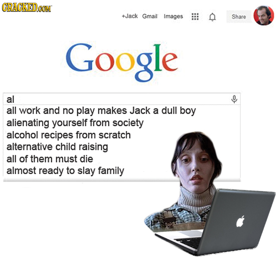 CRACKEDCON +Jack Gmail Images n Share Google al 0 all work and no play makes Jack a dull boy alienating yourself from society alcohol recipes from scr