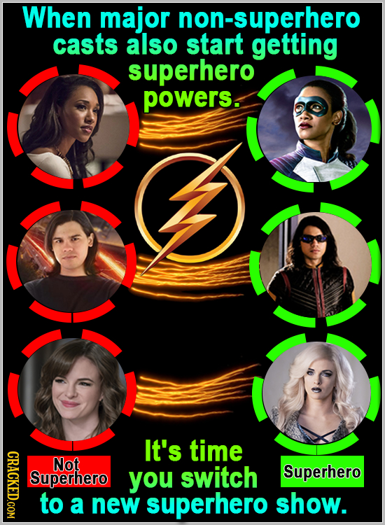 When major non-superhero casts also start getting superhero powers. It's time CRACKED.COM Not Superhero you switch Superhero to a new superhero show.