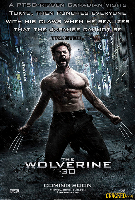 A PTSD-RIDDEN CANADIAN VISITS TOKYO, THEN PUNCHES EVERYONE WITH HIS CLAWS WHEN HE REALIZES THAT THE JAPANSE CANNOT BE TRUSTED. THE WOLVERINE 'N3D COMI