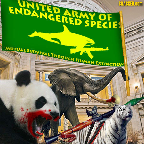 UNITED CRACKED.cOM ENDANGERED ARMY OF SPECIE MUTUAL SURVIVAL THROUGH HUMAN EXTINCTION