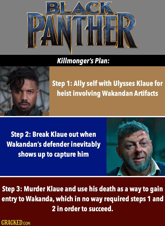 BLLACK PANTHER Killmonger's Plan: Step 1: Ally self with Ulysses Klaue for heist involving Wakandan Artifacts Step 2: Break Klaue out when Wakandan's