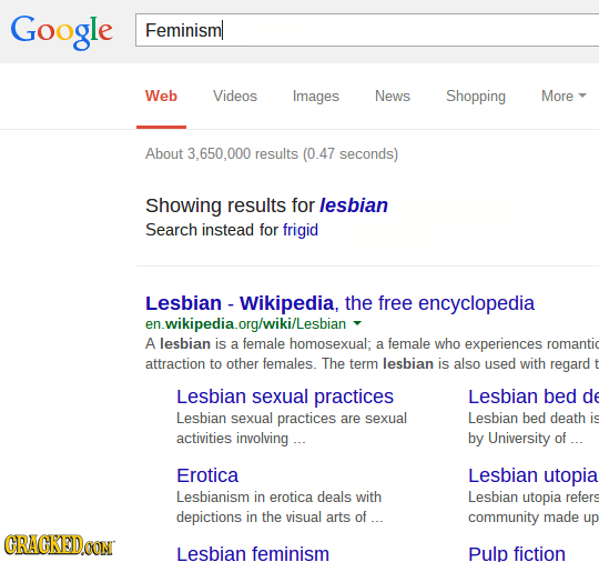 Google Feminisml Web Videos Images News Shopping More About 3.650.000 results (0.47 seconds) Showing results for lesbian Search instead for frigid Les