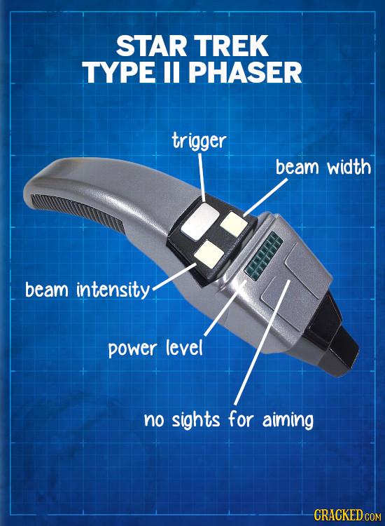 STAR TREK TYPE I PHASER tr rigger beam width beam intensity power level no sights for aiming CRACKED COM