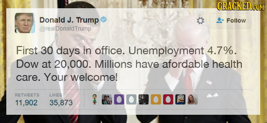 CRACKED.CO Donald J. Trump Follow @realDonaldTrump First 30 days in office. Unemployment 4.7%. Dow at 20.000. Millions have afordable health care. You