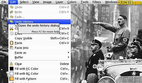 File Edit Select View Image Layer Colors Tools Filters Windows SCTRACKED.COM Undo Ctrl+Z Redo Ctrl+Y Fade... Undo History Open the undo history dialog