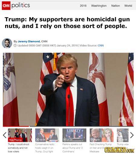 CHO politics 2016 Washington Nation Worid Trump: My supporters are homicidal gun nuts, and I rely on those sort of people. By Jeremy Dlamond, CNN O Up