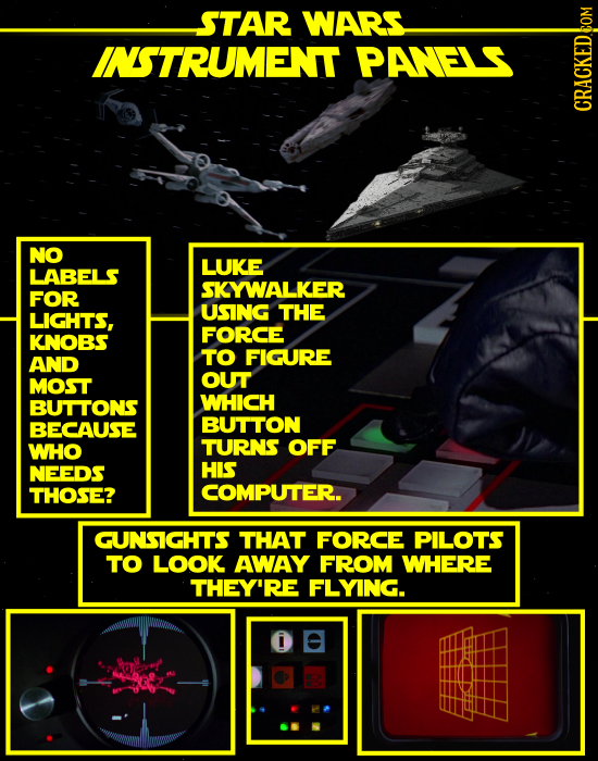 STAR WARS INSTRUMENT PANELS NO LUKE LABELS SKYWALKER FOR LIGHTS, USING THE FORCE KNOBS TO FIGURE AND MOST OUT BUTTONS WHICH BECAUSE BUTTON WHO TURNS O