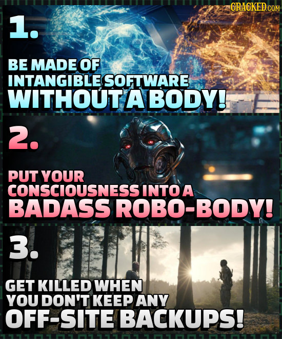 CRACKED CO 1. BE MADE OF INTANGIBLES SOFTWARE WITHOUT A BODY! 2. PUT YOUR CONSCIOUSNESS INTOA BADASS ROBO-BODY! 3. GET KILLED WHEN YOU DON'T KEEP ANY