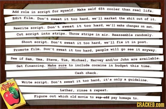 Make self 65 cooler than Add myself. real role in for life. script Edit film. Don't it hard, market the aveat too we11 shit out of it. it too hard, we