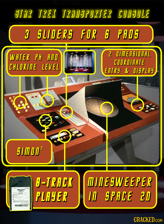 STAR TREK TRANSPORTER CONSOLE 3 SLIDERS FOR 6 PADS DIMENSIDNAL WATER PH AND 2 COORDINATE CHLORIAE LEVEL ENTRY & DISPLAY SIMON? 8-TRACK MINESWEEPER PLA