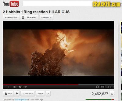 You Tube CRACKED COM 2 Hobbits 1 Ring reaction HILARIOUS AxpimoGimll Sohserihe videos 311 007 Like Aa share 2.462.627 Lintosded DY AxEDinotnt in T