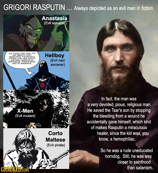 GRIGORI RASPUTIN... Always depicted as an evil man in fiction Anastasia (Evil sorcerer ave WO Th A TE 4 - Hellboy ANERLL 4TOOM.THEY A MUIGITY OL (Evil