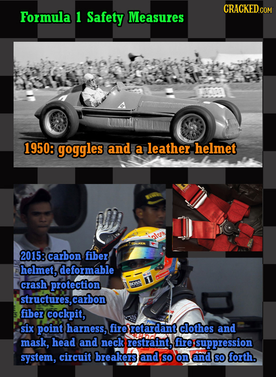 CRACKEDCON Formula 1 Safety Measures 1950: goggles and a leather helmet afort 2015: carbon fiber helmet, deformable crash protection BOSS structures,c