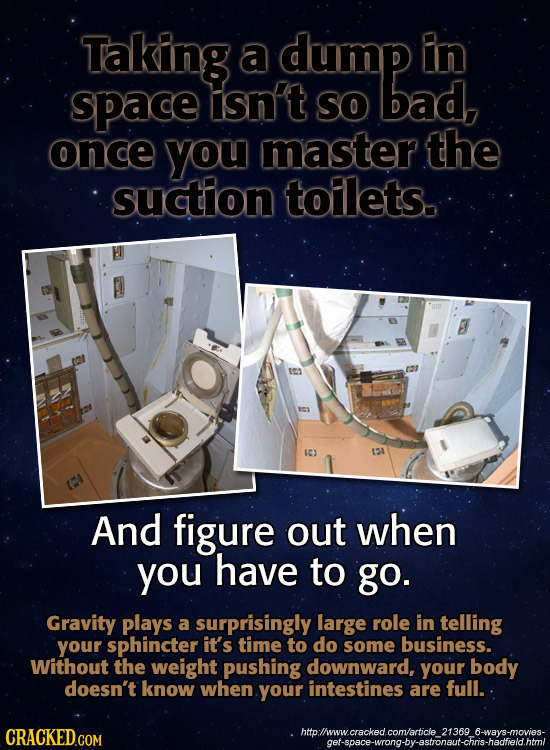 Taking a dump In space tisn't so bad, once you master the suction toilets. And figure out when you have to go. Gravity plays a surprisingly large role