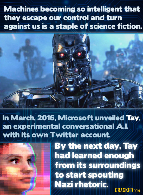 Machines becoming so intelligent that they escape our control and turn against us is a staple of science fiction. In March, 2016, Microsoft unveiled T