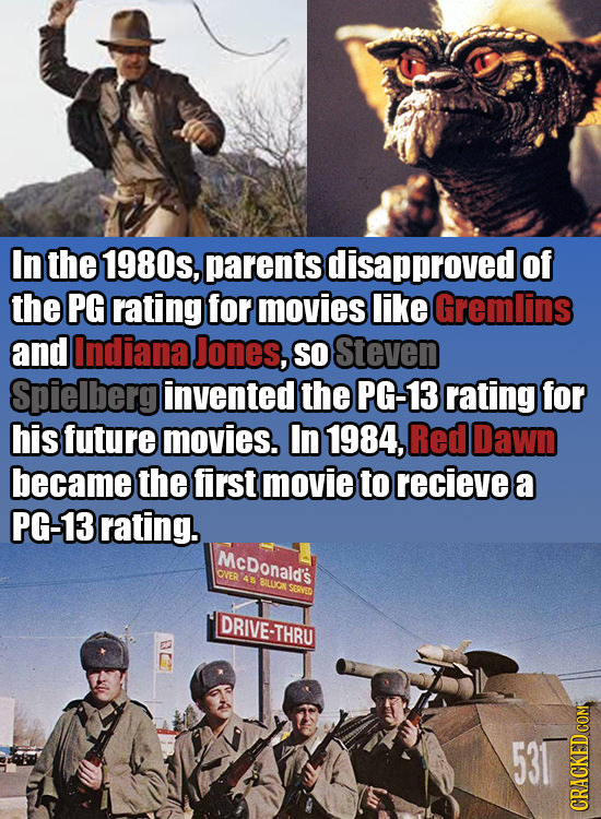 In the 1980s, parents disapproved of the PG rating for movies like Gremlins and Indiana Jones, SO Steven Spielberg invented the PG-13 rating for his f