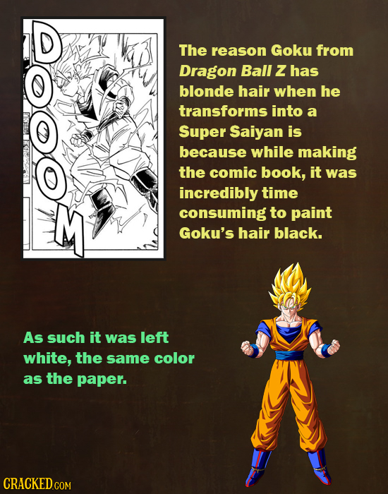 D The reason Goky from Dragon Ball Z has blonde hair when he transforms into a Super Saiyan is because while making the comic book, it was incredibly
