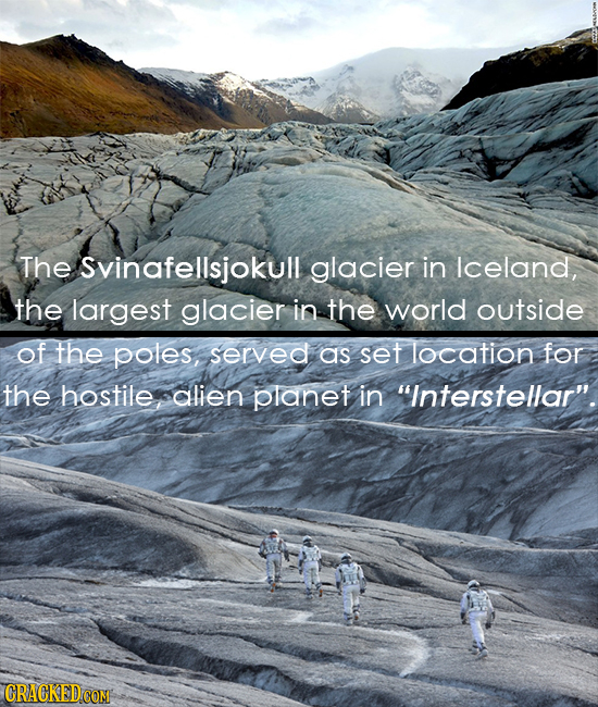 The Svinafellsjokull glacier in Iceland, the largest glacier in the world outside of the poles, Served as set location for the hostile alien planet in