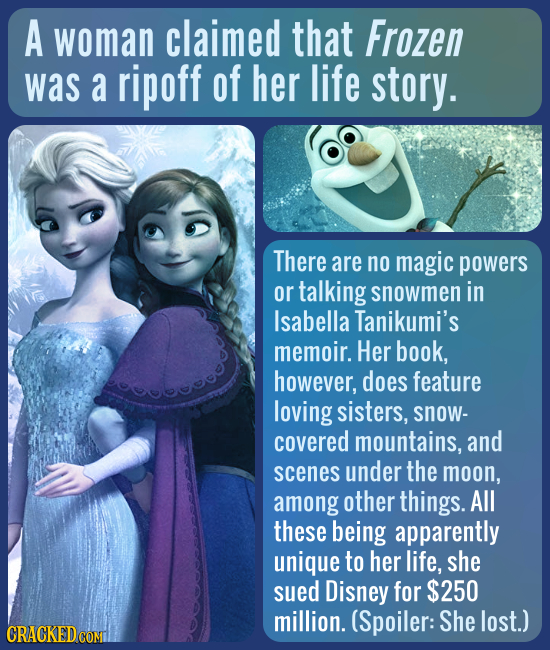 A woman claimed that Frozen was a ripoff of her life story. There are no magic powers or talking snowmen in Isabella Tanikumi's memoir. Her book, howe