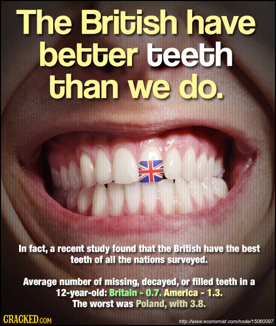 The British have better teeth than we do. In fact, a recent study found that the British have the best teeth of all the nations surveyed. Average numb