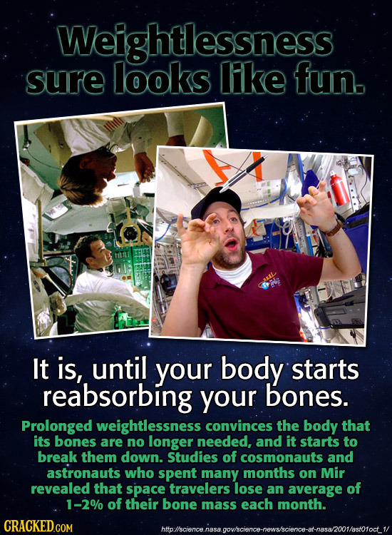 Weightlessness sure looks lke fun. AL It is, until your body starts reabsorbing your bones. Prolonged weightlessness convinces the body that its bones