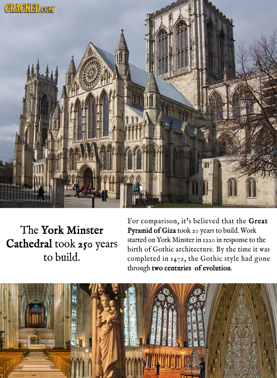 For comparison, it's believed that the Great The York Minster Pyramid of Giza took years to build. Work 20 Cathedral took started on York Minster in 1