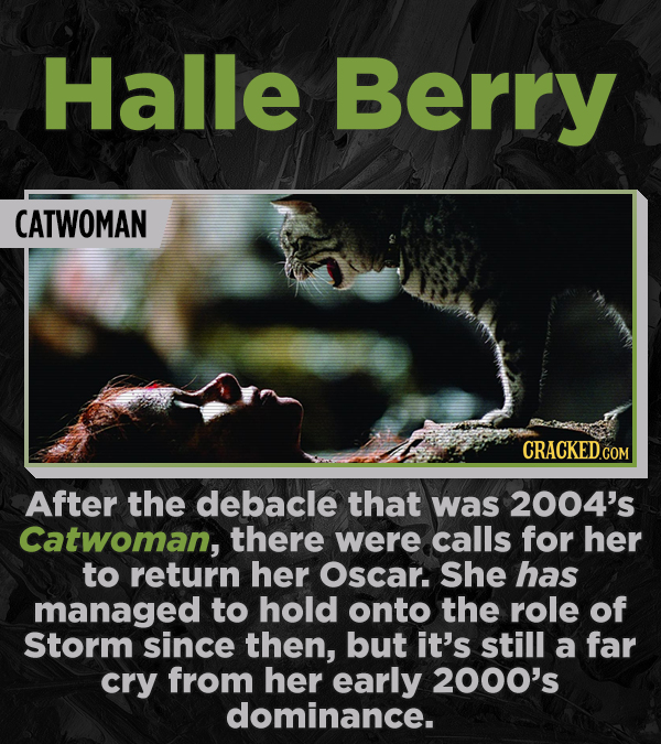 Halle Berry CATWOMAN CRACKED.CO After the debacle that was 2004's Catwoman, there were calls for her to return her Oscar. She has managed to hold onto
