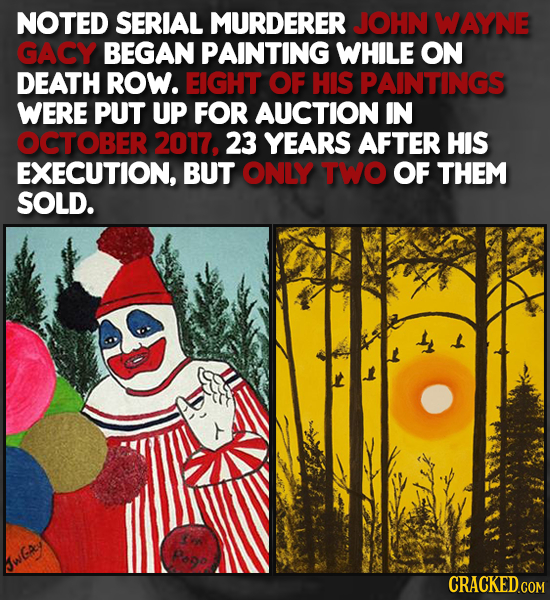 NOTED SERIAL MURDERER JOHN WAYNE GACY BEGAN PAINTING WHILE ON DEATH ROW. EIGHT OF HIS PAINTINGS WERE PUT UP FOR AUCTION IN OCTOBER 2017, 23 YEARS AFTE