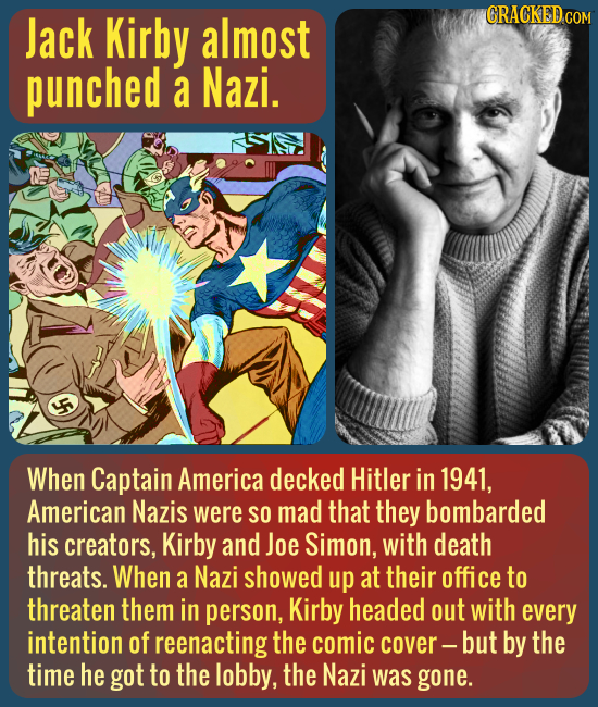 Jack Kirby almost CRACKED COM punched a Nazi. When Captain America decked Hitler in 1941, American Nazis were SO mad that they bombarded his creators,