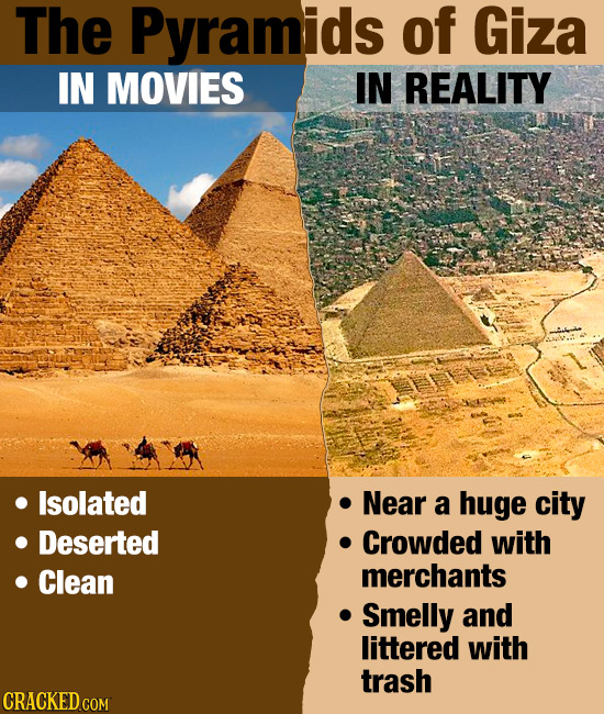 The Pyramids of Giza IN MOVIES IN REALITY Isolated Near a huge city Deserted Crowded with Clean merchants Smelly and littered with trash
