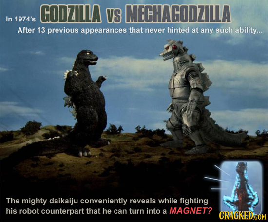 GODZILLA VS MECHAGODZILLA In 1974's After 13 previous appearances that never hinted at any such ability... The mighty daikaiju conveniently reveals wh