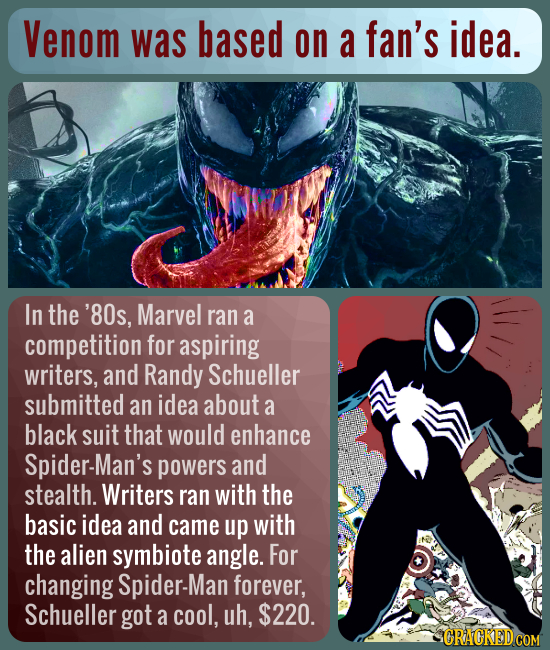 Venom was based on a fan's idea. In the '80s, Marvel ran a competition for aspiring writers, and Randy Schueller submitted an idea about a black suit