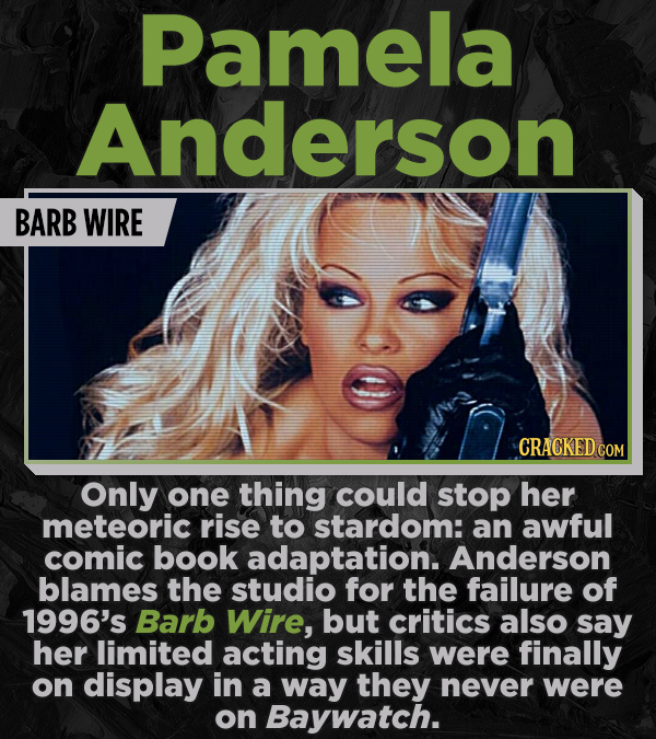 Pamela Anderson BARB WIRE CRACKED COM Only one thing could stop her meteoric rise to stardom: an awful comic book adaptation. Anderson blames the stud