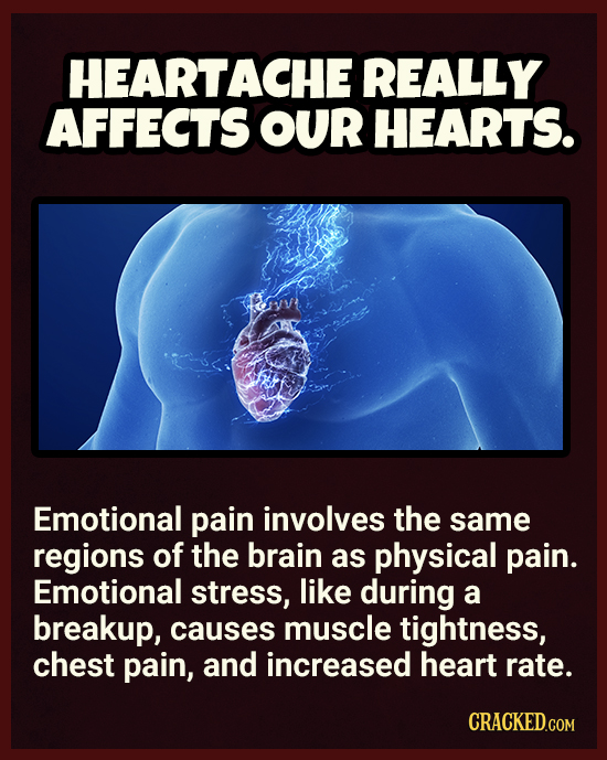 HEARTACHE REALLY AFFECTS OUR HEARTS. Emotional pain involves the same regions of the brain as physical pain. Emotional stress, like during a breakup,