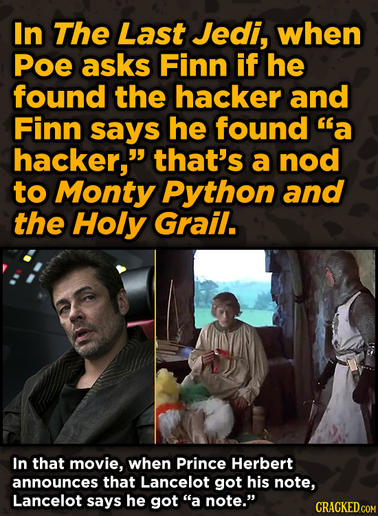 Movie Scenes With Hidden Homages To Other Movies - In The Last Jedi, when Poe asks Finn if he found the hacker and Finn says