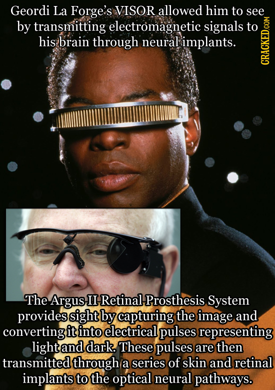 Geordi La Forge's VISOR allowed him to see by transmitting electromagnetic signals to his brain through neural implants. cRath The Argus II Retinal, P