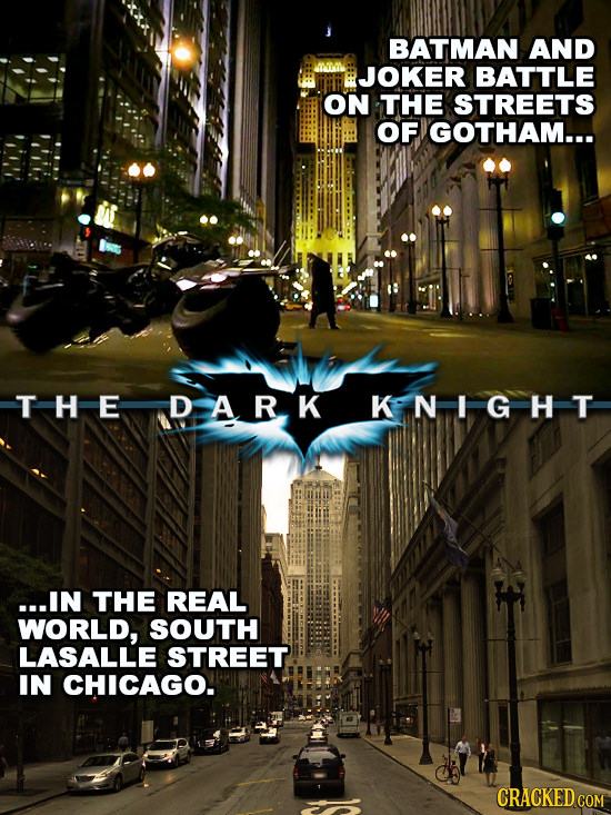 BATMAN AND JOKER BATTLE ON THE STREETS OF IGOTHAM... THEDARK KNI GHT ...IN THE REAL WORLD, SOUTH LASALLE STREET IN CHICAGO.