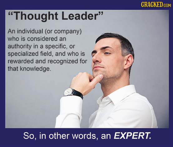 CRACKED Thought Leader An individual (or company) who is considered an authority in a specific, or specialized field, and who is rewarded and recogn