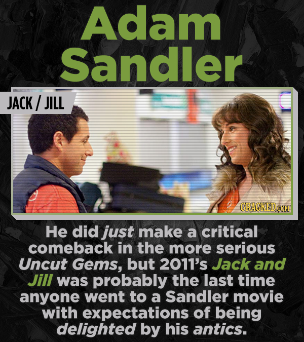 Adam Sandler JACK/ JILL CRACKEDCON He did just make a critical comeback in the more serious Uncut Gems, but 2011's Jack and Jill was probably the last