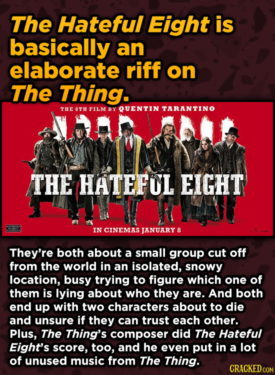 Movie Scenes With Hidden Homages To Other Movies - The Hateful Eight is basically an elaborate riff on The Thing.