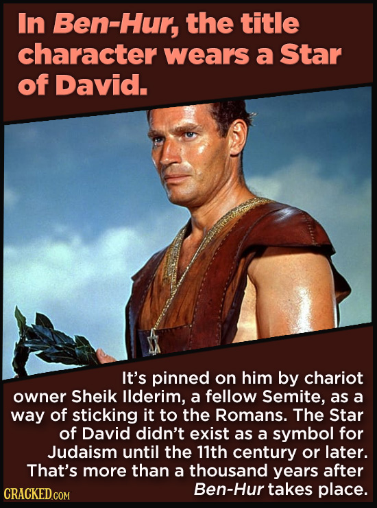 21 Details That Movies And TV Shows Got Exactly Wrong - It's pinned on him by chariot  owner Sheik Ilderim, a fellow Semite, as a way of sticking it t