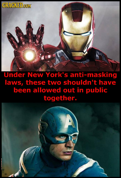 Under New York's anti-masking laws, these two shouldn't have been allowed out in public together. A