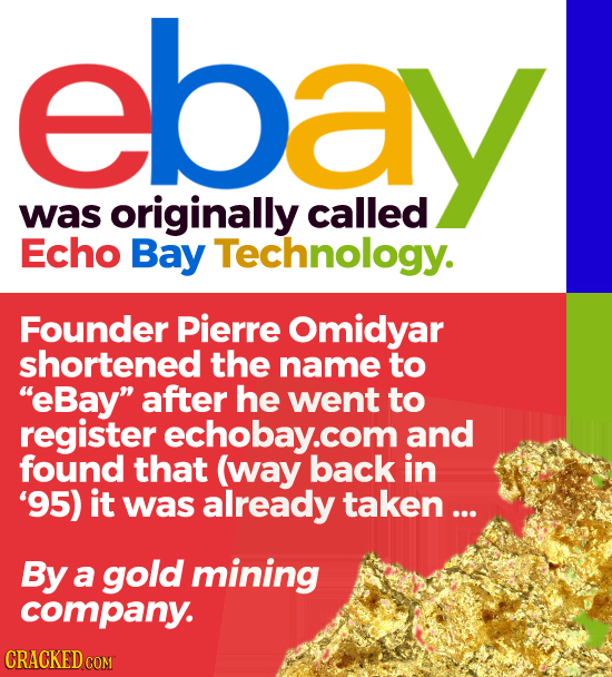 ebay was originally called Echo Bay Technology. Founder Pierre omidyar shortened the name to EBay after he went to register echobay.com and found th