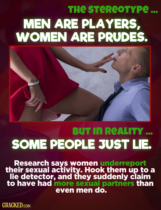 THE STEREOTYPE ... MEN ARE PLAYERS, WOMEN ARE PRUDES. BUT in REALITY ... SOME PEOPLE JUST LIE. Research says women underreport their sexual activity.