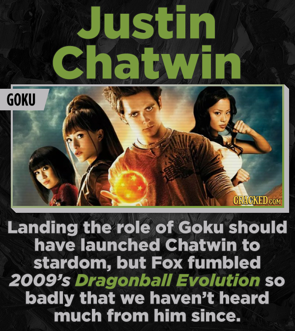 Justin Chatwin GOKU Landing the role of Goku should have launched Chatwin to stardom, but Fox fumbled 2009's Dragonball EvOlUtion SO badly that we hav