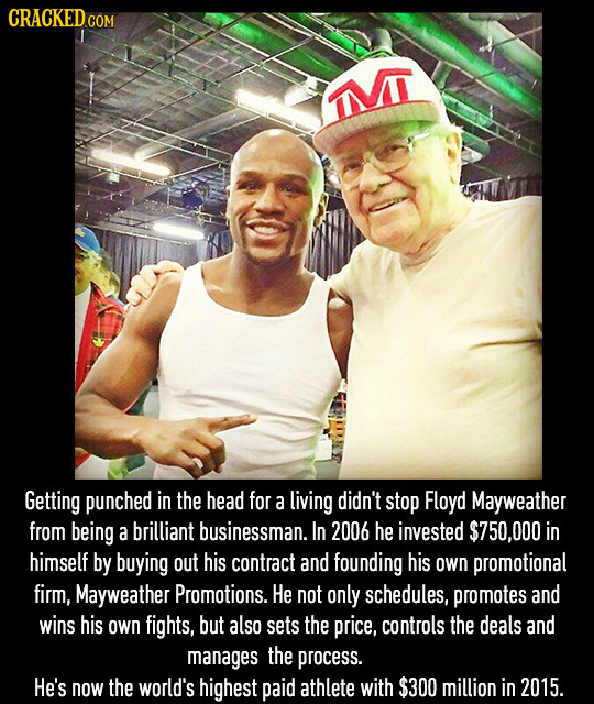 CRACKEDGO COM I Getting punched in the head for a living didn't stop Floyd Mayweather from being a brilliant businessman. In 2006 he invested $750,000
