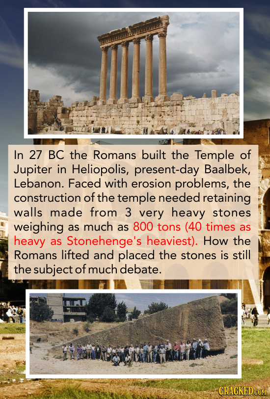 In 27 BC the Romans built the Temple of Jupiter in Heliopolis, present-day Baalbek, Lebanon. Faced with erosion problems, the construction of the temp